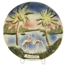 Souvenir of Florida Japanese Majolica Flamingo Plate Plaque