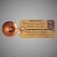 Copper Cowboy Hat Mailer Souvenir Kansas City, Missouri 1950