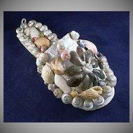 Shell Art Slipper Form Souvenir of Benidorm, Spain Vacation Town