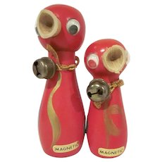 Made in Japan Wooden Red Bird Salt and Pepper Shakers with Magnets and Bells