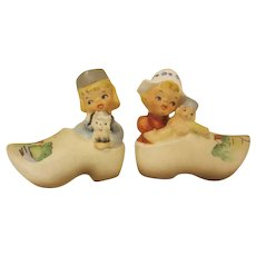 Vintage Pair of Made in Japan Dutch Children in Shoes Salt and Pepper Shakers