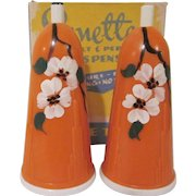 Sonette Art Deco Hard Plastic Salt and Pepper Shakers with Dogwood in Original Box Not Used