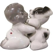 Regal China Van Tellingen U.S.A. African American Boy and Dog Huggies Salt & Pepper Shakers