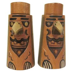Vintage Made in Japan Wooden Totem Pole Salt and Pepper Shakers