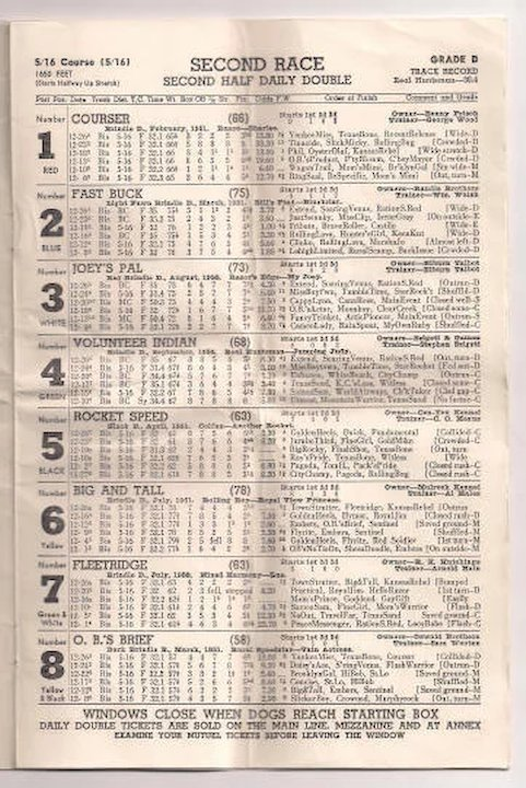 Biscayne Dog Track Official Racing Form Program 1952