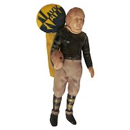 Navy Pinback with Celluloid Football Player Dangling Souvenir
