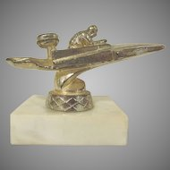 Mid Century Modern Speed Boat Trophy with One Man and a Stone Base 1960s