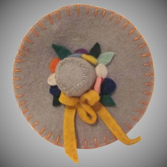 Vintage Home Made Felt Hat with Flowers Thimble, Needle, and Pin Holder Sewing Caddy