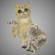 Royal Doulton Yellow Tiger with Gray Stripes Cat with a Newspaper Figurine