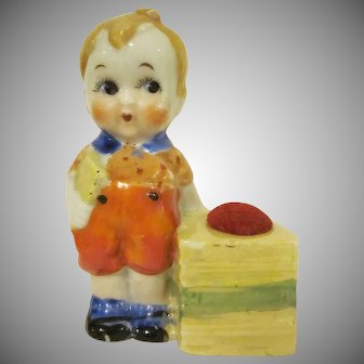 Made in Japan Bisque  Little Boy with a Book Pincushion