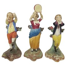 Trio of Chelsea Derby Spode Copelands Musician Figurines Trumpeter, Tambourine, and Triangles