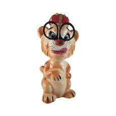 Ceramic King Lion Pincushion Sewing Caddy Japan