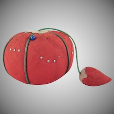 Made in Japan Tomato Pincushion with a Strawberry Emery Attached