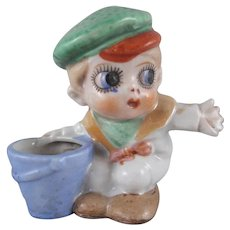 Googly Sailor Boy with Pail Bisque Pincushion