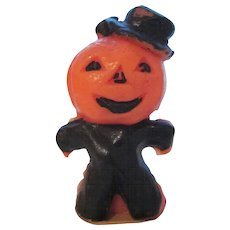 Gurley Small Halloween Jackolantern Man with Black Suit Candle