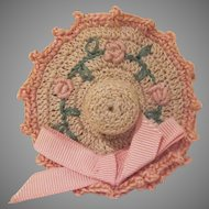 Vintage Crocheted Hat with Flowers Thimble and Needle/Pin Holder
