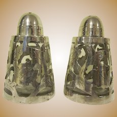 Sterling Silver Mexico 925 Pair of Floral Open Work Salt and Pepper Shakers with Glass Bottles J.H.M.