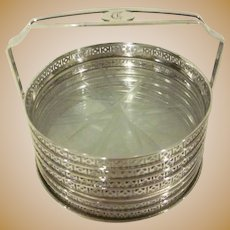 Vintage George K. Webster Silver Co. Etched 6 Crystal Coasters with Sterling Rims and Stand