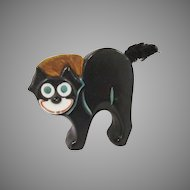 Made in Germany Bisque Black Cat Perhaps Felix the Cat Pincushion
