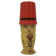 Vintage Made in Germany Plastic Thimble/Needle Case Man Caricature