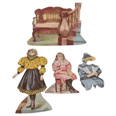 Lion Coffee The Hall Paper Dolls 4 piece Trade Card Set Complete