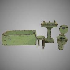 "Vintage Arcade 1-1/2"" Cast Iron 4 Piece Bathroom in Green Dollhouse Furniture"