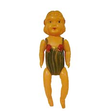 "Made in Japan 9-1/2"" Tall Celluloid Toddler in Playsuit Jointed Doll"