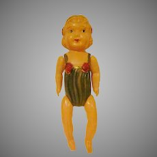 """Made in Japan 9-1/2"""" Tall Celluloid Toddler in Playsuit Jointed Doll"""