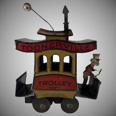 1922 Toonerville Trolley Tin Litho Windup Toy Works!!