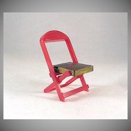 Renwal No. 109 Folding Chair Red with Gold Seat Dollhouse Furniture