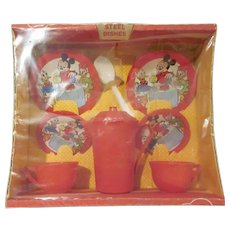 Vintage Wolverine Mickey Mouse Tea Set in Original Box Not Used 1960s Walt Disney Productions