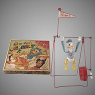 Line Mar Celluloid Donald Duck Acrobat Windup in Original Box Works