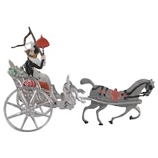 Made in Germany Soft Metal Couple in Horse Drawn 2 Wheeled Cart Penny Toy