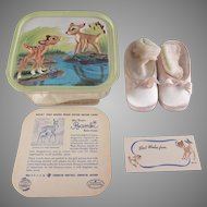 Walt Disney Bambi Baby Shoes in Original Box with Lid to Hang