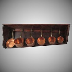 French Copper Stacking Pans and Skillet on Wall Hanging Shelf Toy