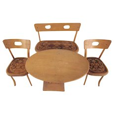 """Art Nouveau Style 8"""" Doll Furniture Table, Bench and 2 Chairs"""