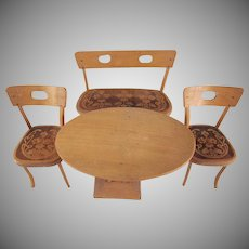 "Art Nouveau Style 8"" Doll Furniture Table, Bench and 2 Chairs"