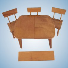 """Strombecker Mid-Century Modern 8"""" Doll Furniture Table with a Leaf, and 3 Chairs"""