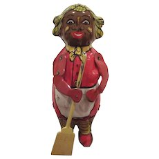 Vintage Tin Litho Lindstrom Corp. Sweeping Mammy Wind-Up Toy Works