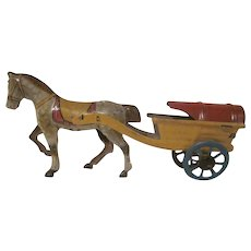 Vintage Made in Germany Tin Litho Penny Toy Horse Drawn Cart - Red Tag Sale Item