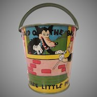 Ohio Art Three Little Pigs and the Big Bad Wolf Tin Litho Sand Pail