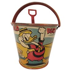Ohio Art 1939 WFP Donald Duck Muscle Beach Sand Pail with Generic Shovel
