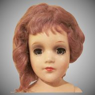 """Mary Hoyer 14"""" Tall Composition Doll with Crocheted Clothes and Original Trunk with Tag"""