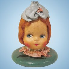 Vintage Mask Face Doll Head Wooden Hat Stand