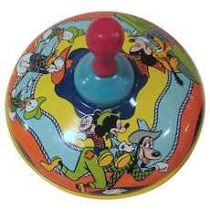Vintage Tin Litho J. Chein Mickey Mouse & Friends Playing Cowboys WDP Spinning Top 1950s