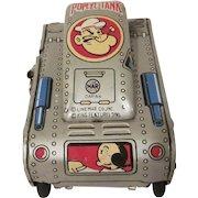 Vintage Tin Litho Linemar Popeye Turnover Tank Windup Toy Works