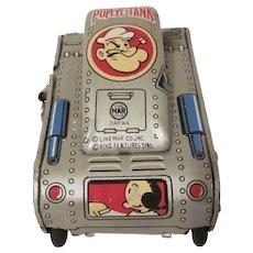 Tin Litho Vintage Linemar Popeye Turnover Tank Windup Toy Works