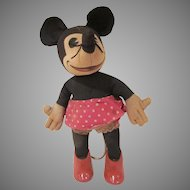 Early Knickerbocker Minnie Mouse Doll with Composition Shoes 1930s