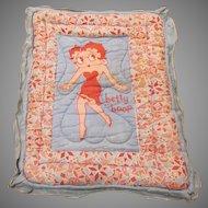 Vintage Printed Cotton Betty Boop Fleischer Studios Doll Quilt Pinks and Blues 1930s