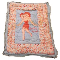 Vintage Printed Cotton Betty Boop Fleischer Studios Doll Quilt Pinks and Blues 1930s